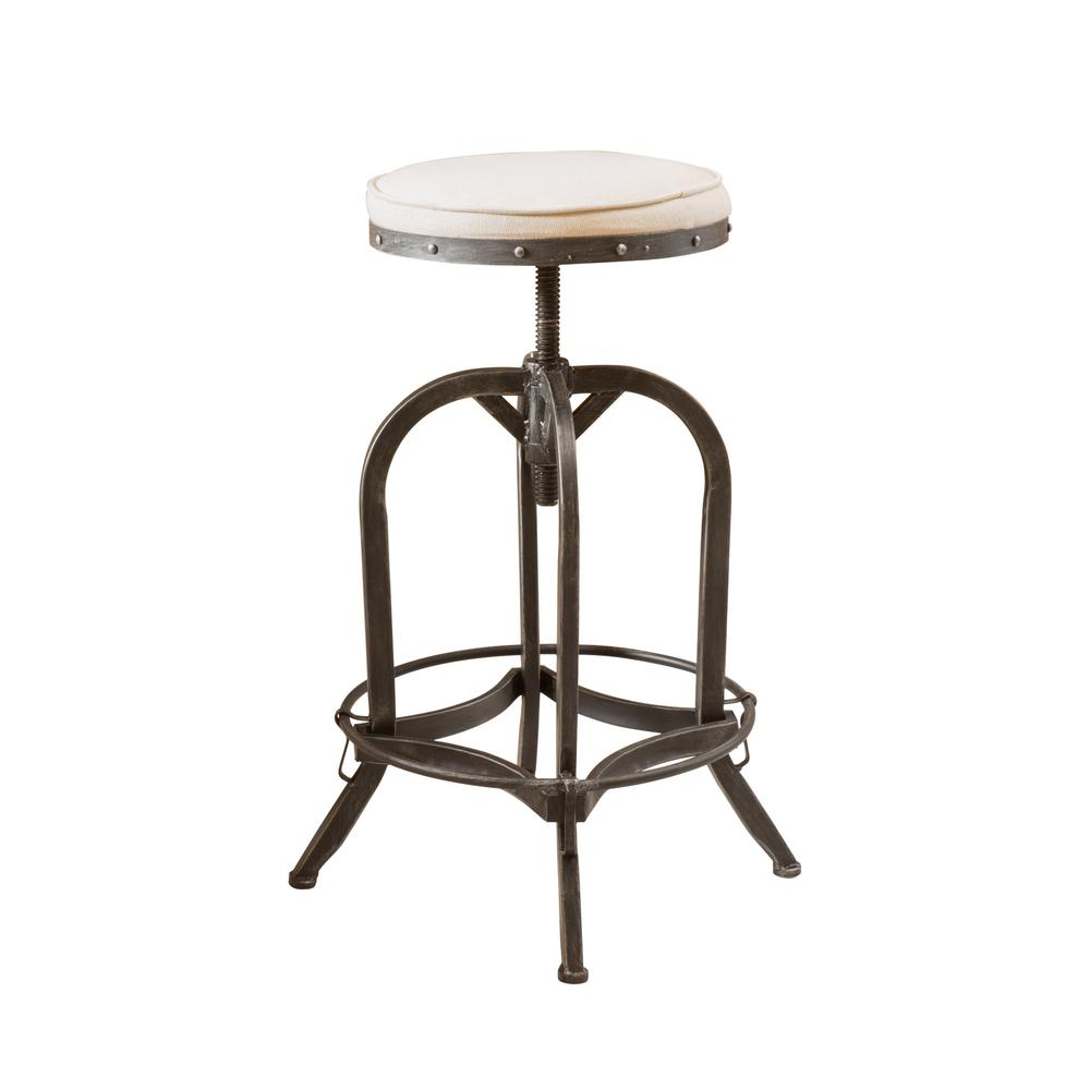 Grey swivel iron bar stool