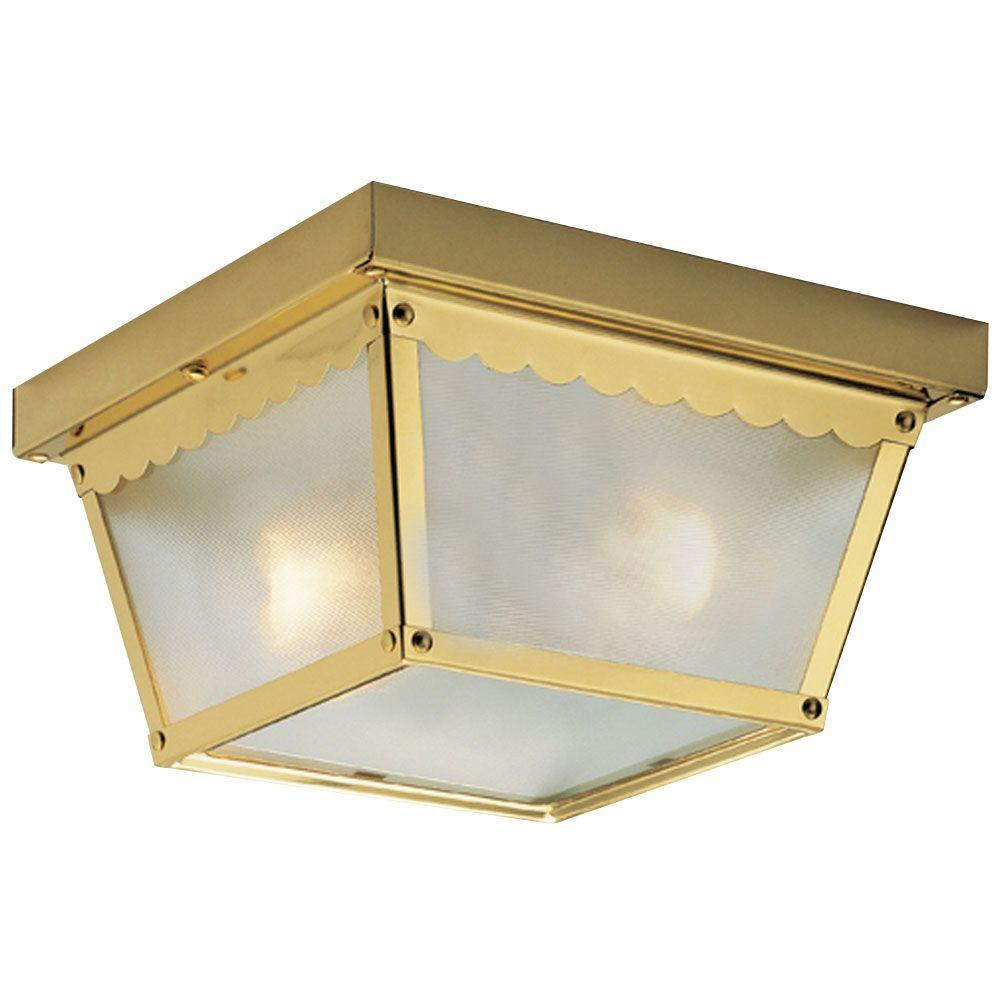 Westinghouse 2-Light Polished Brass Steel Flush-Mount Exterior Fixture with Clear Textured Glass Panels
