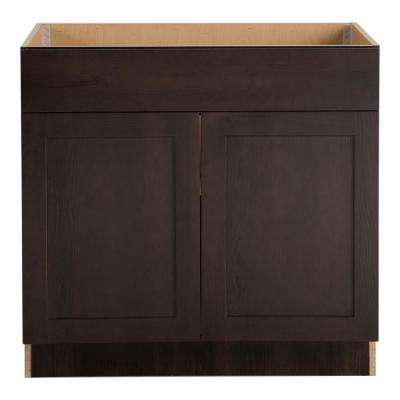 Cambridge Assembled 36x34.5x24.625 in. Sink Base Cabinet with False Drawer Front in Dusk