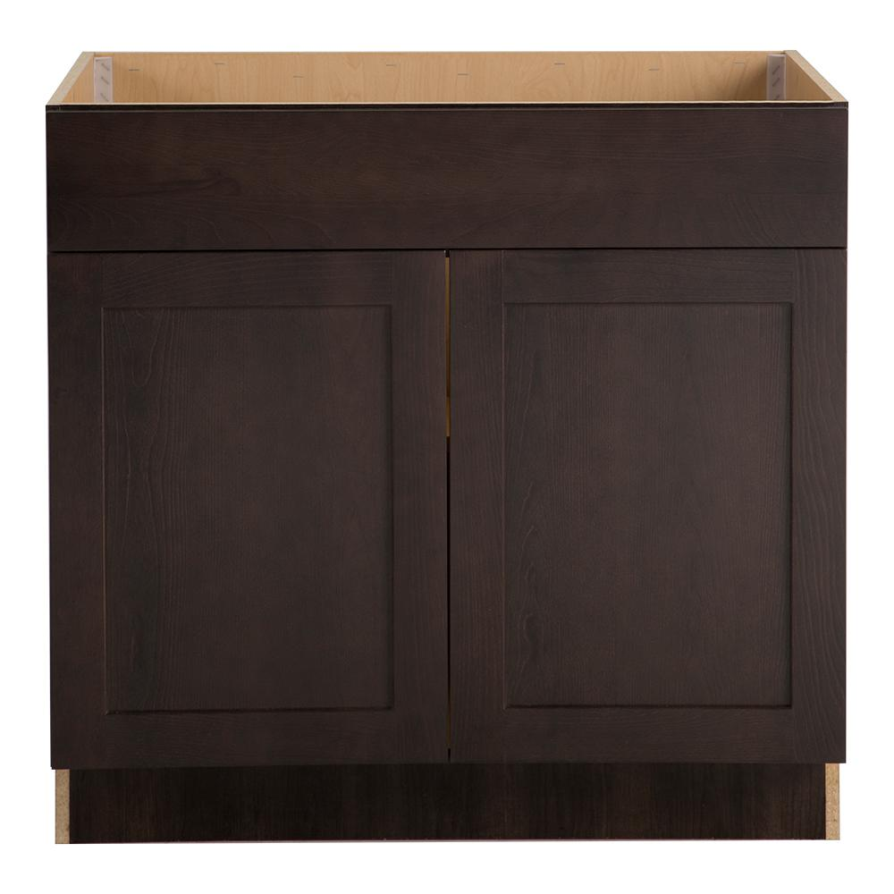 Hampton Bay Cambridge Assembled 36x34.5x24 in. Sink Base Cabinet with False Drawer Front in Dusk -  CM3635S-DK