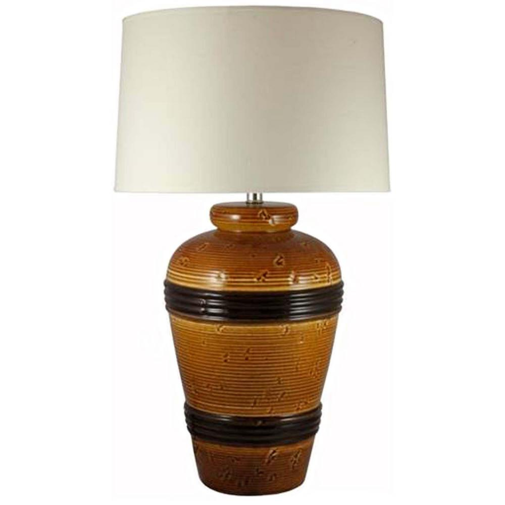 Fangio Lighting 28 In Spice Brown Banded Ceramic Table Lamp W