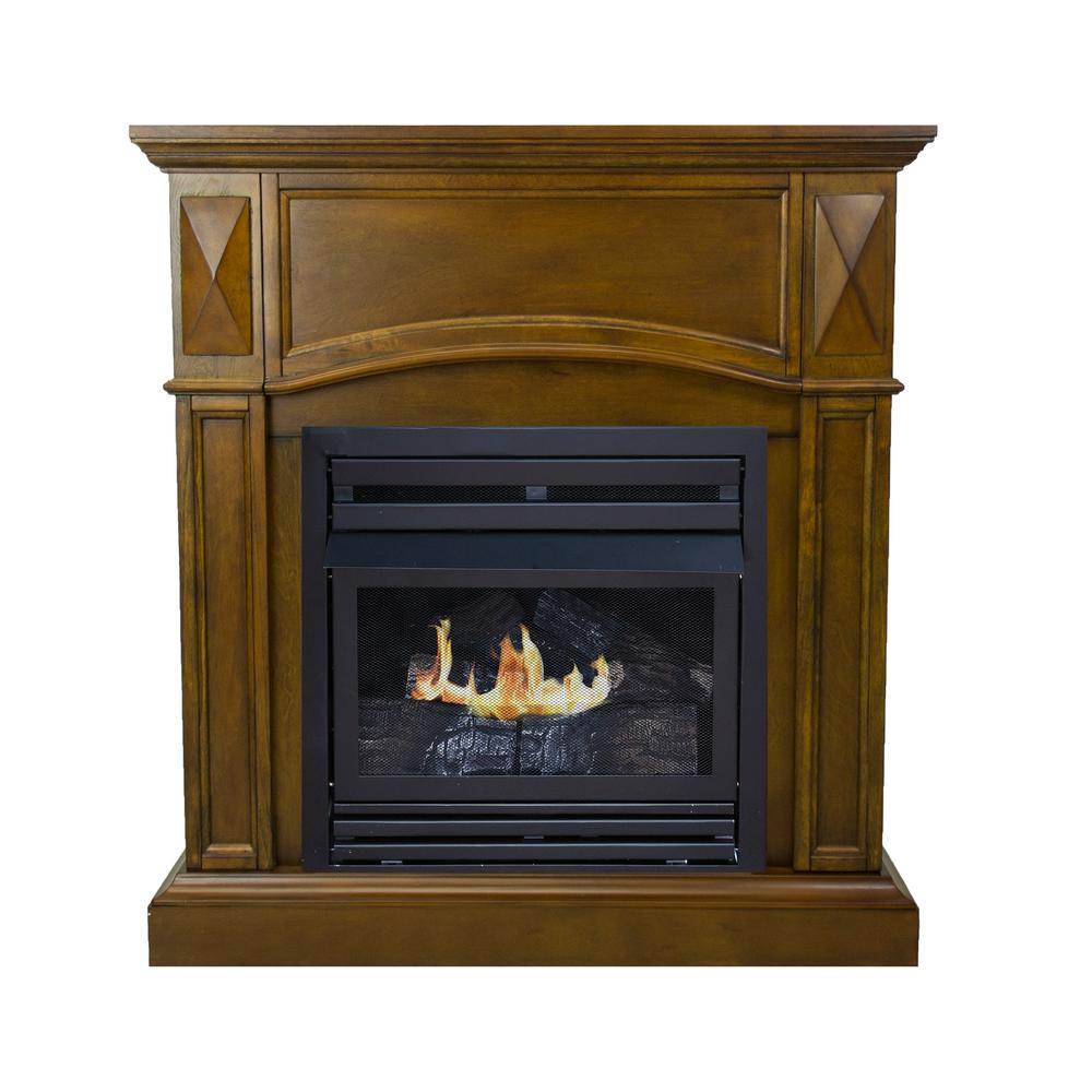 Pleasant Hearth 20 000 Btu 36 In Compact Convertible Ventless Natural Gas Fireplace Heritage