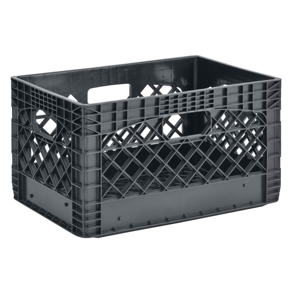 11 in. H x 13 in. W x 19 in. D Plastic Storage Milk Crate in Gray (3-Pack)