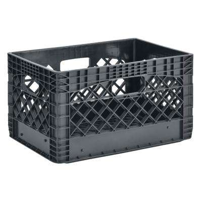 11 in. H x 13 in. W x 19 in. D Plastic Storage Milk Crate in Gray (3-Pack)