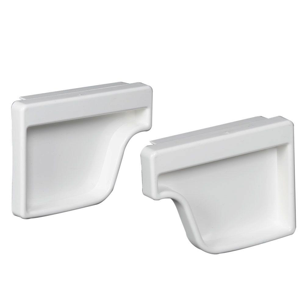 Amerimax Home Products White Vinyl K-Style End Cap Set