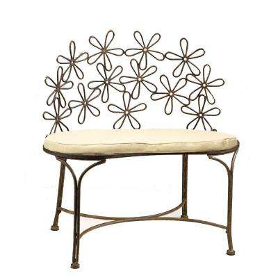 Daisy Metal Patina 32 in. L x 19 in. D x 32 in. H Patio Bench