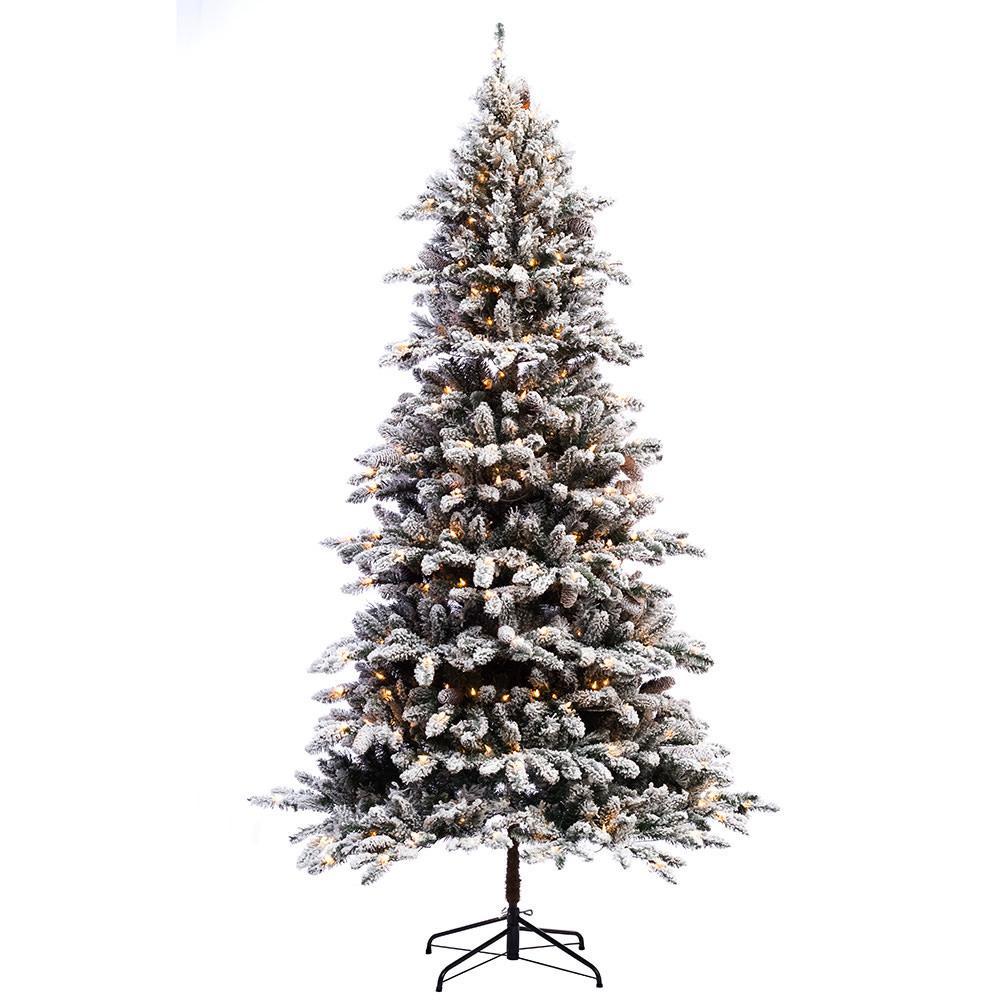 Pre Lit Flocked Artificial Christmas Trees: Puleo International 6.5 Ft. Pre-lit Flocked Bennington Fir