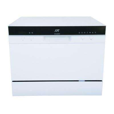 Countertop Dishwasher in White with Delay Start and 6 Place Settings Capacity