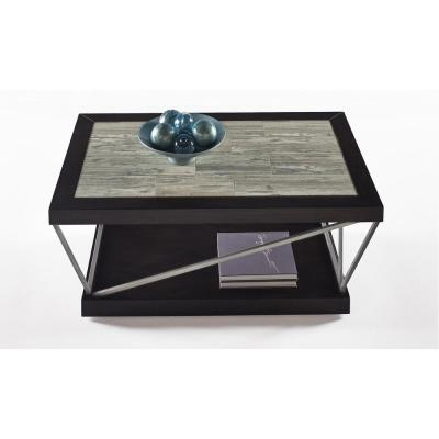 Progressive Furniture East Bay Woodstone Tile Rectangular Cocktail Table, Woodtone Tile