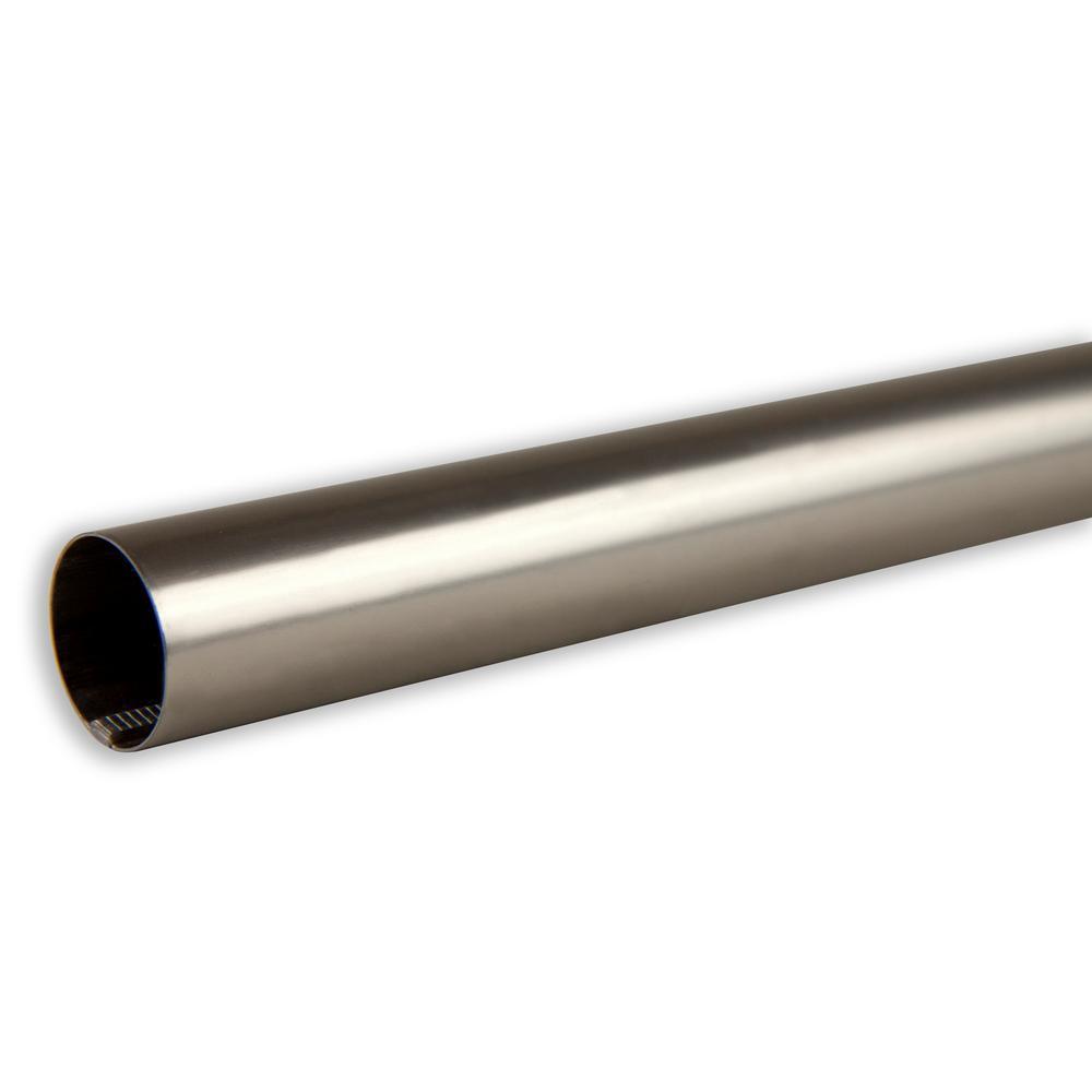 1 in. Diameter Closet Pole/Curtain Rod 8 ft. long in Satin Nickel
