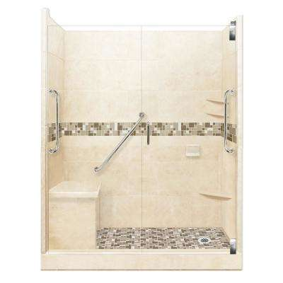 Tuscany Freedom Grand Hinged 30 in. x 60 in. x 80 in. Right Drain Alcove Shower Kit in Desert Sand and Satin Nickel