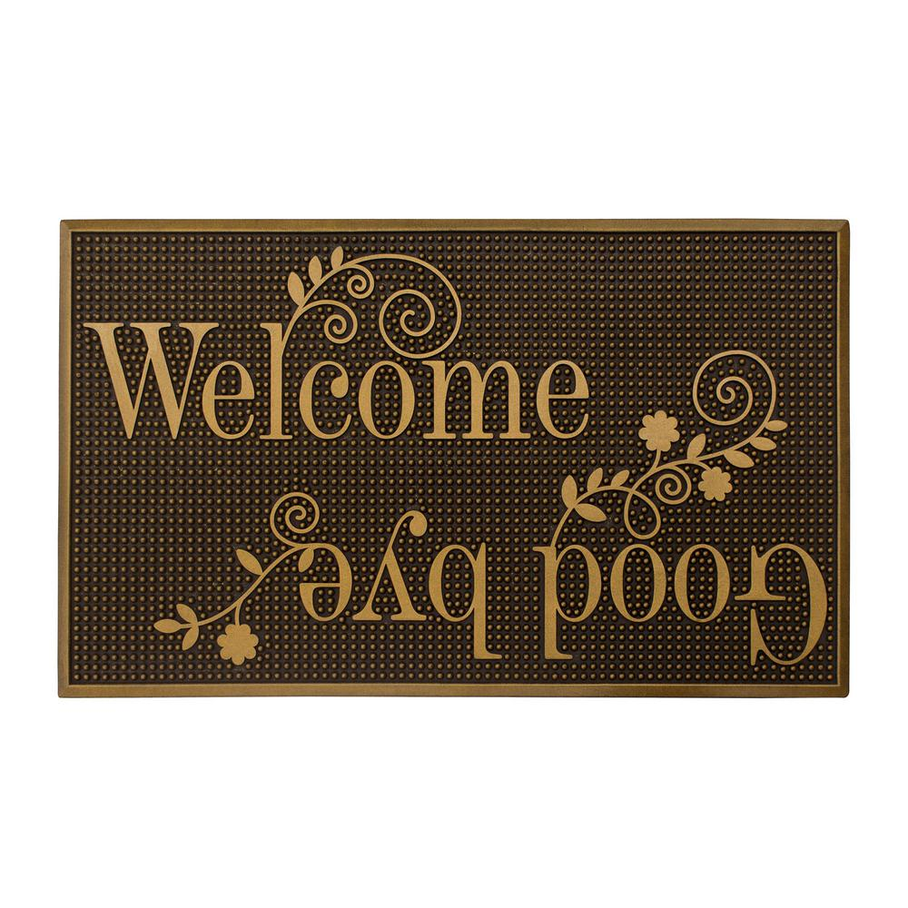 Gold Painted 18 in. x 30 in. Rubber Indoor/Outdoor Welcome and