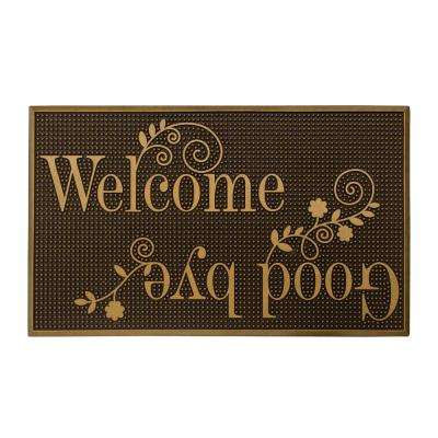 Gold Painted 18 in. x 30 in. Rubber Indoor/Outdoor Welcome and Goodbye Mat