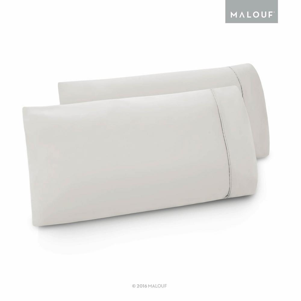 Malouf Woven Brushed Microfiber Driftwood King Pillowcase