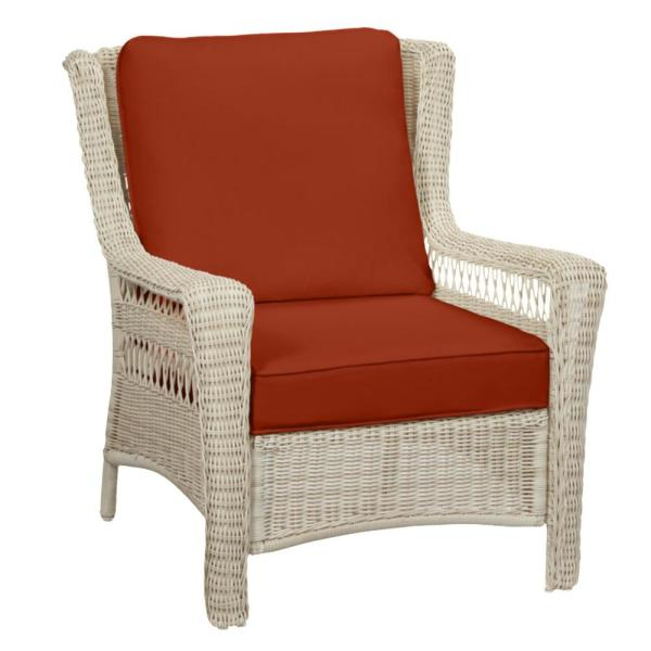 Park Meadows Off-White Wicker Outdoor Patio Lounge Chair with CushionGuard Quarry Red Cushions