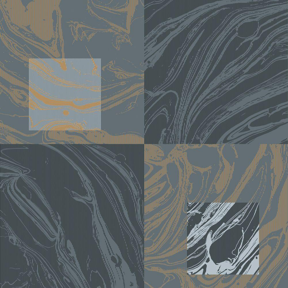 null 56 sq. ft. Charcoal and Grey Large Marbelized Squares Wallpaper
