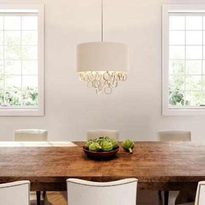 3-Light Cascading Ring Polished Nickel Pendant with White Drum Shade