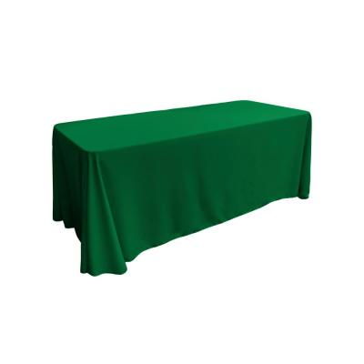 90 in. x 132 in. Emerald Green Polyester Poplin Rectangular Tablecloth