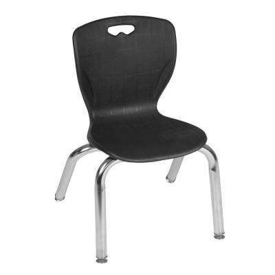 Andy Black Plastic and Metal Stacking Classroom Chair with 12 in. Seat Height