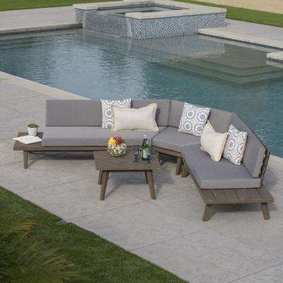 4-Piece Wood Patio Sectional Seating Set with Gray Cushions