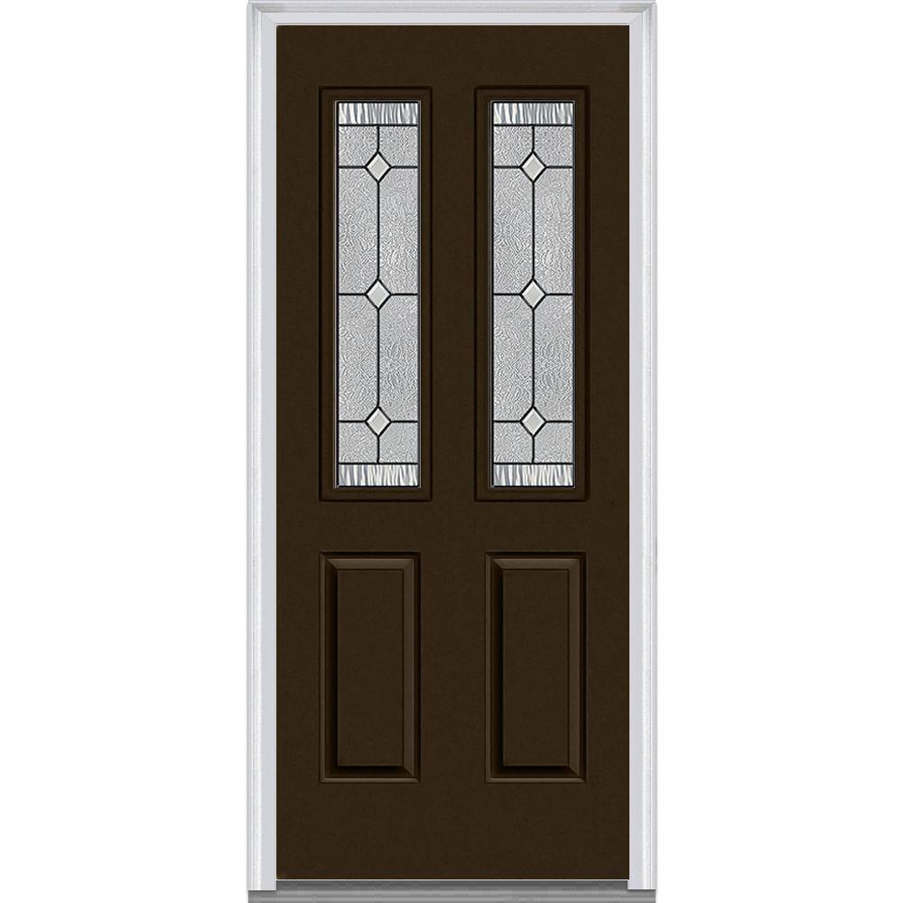 Mmi Door 30 In X 80 In Carrollton Right Hand Inswing 2 Lite Decorative 2 Panel Painted Steel