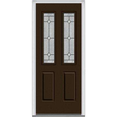 30 in. x 80 in. Carrollton Right-Hand Inswing 2-Lite Decorative 2-Panel Painted Steel Prehung Front Door