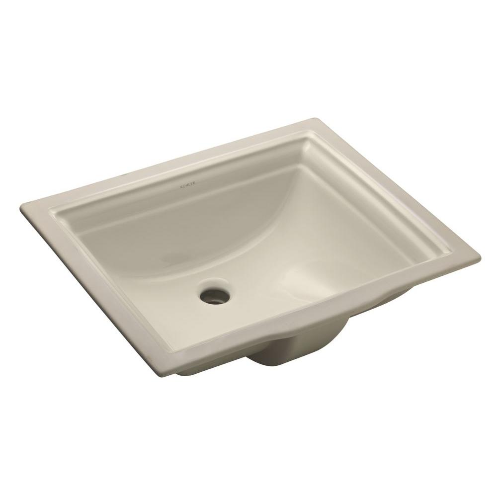 Kohler memoirs vitreous china undermount bathroom sink in biscuit with overflow drain k 2339 96 Used bathroom vanity with sink