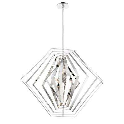 Downtown Collection 10-Light Chrome Chandelier with Chrome Shade