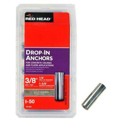 3/8 in. x 1-5/8 in. Steel Drop-In Anchors (50-Pack)