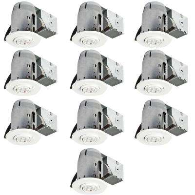 3.25 in. White Recessed Swivel Lighting Kit with Contractor's (10-Pack)