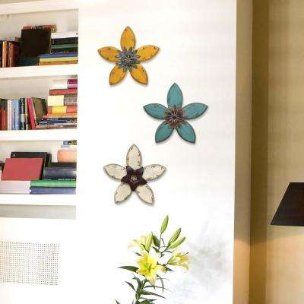 14.75 in. x 13.98 in. Stratton Home Decor Antique Flower Wall Decor