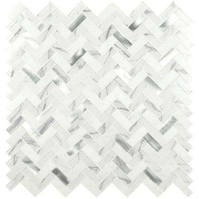 Bytle Bianco 12 in. x 12 in. x 6mm Herringbone Textured Multi-Surface Mesh-Mounted Mosaic Tile (15 sq. ft./Case)