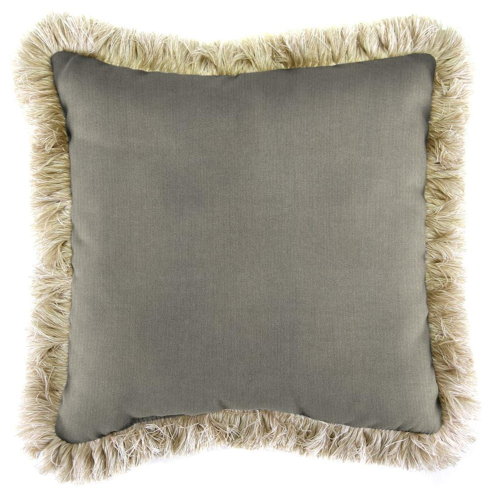 Sunbrella Spectrum Dove Square Outdoor Throw Pillow With Canvas Fringe