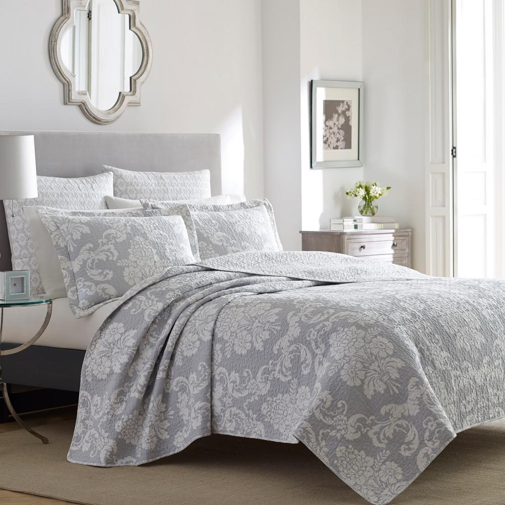 Venetia 3-Piece Gray Floral Cotton King Quilt Set