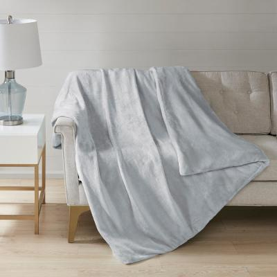 Plush Grey 60 in. x 70 in., 12 lbs. Weighted Blanket