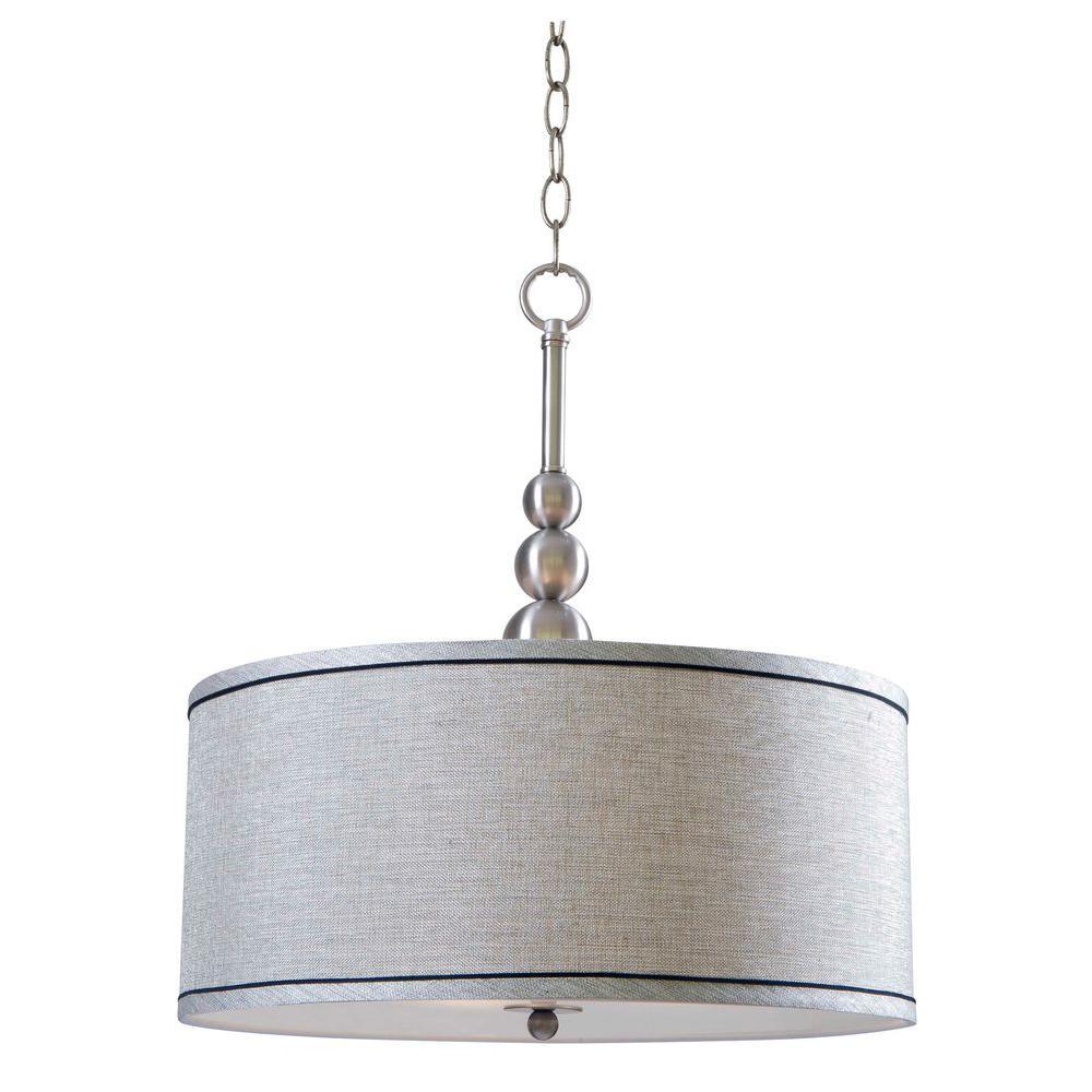 Hampton Bay Marcey 3-Light Brushed Steel Pendant