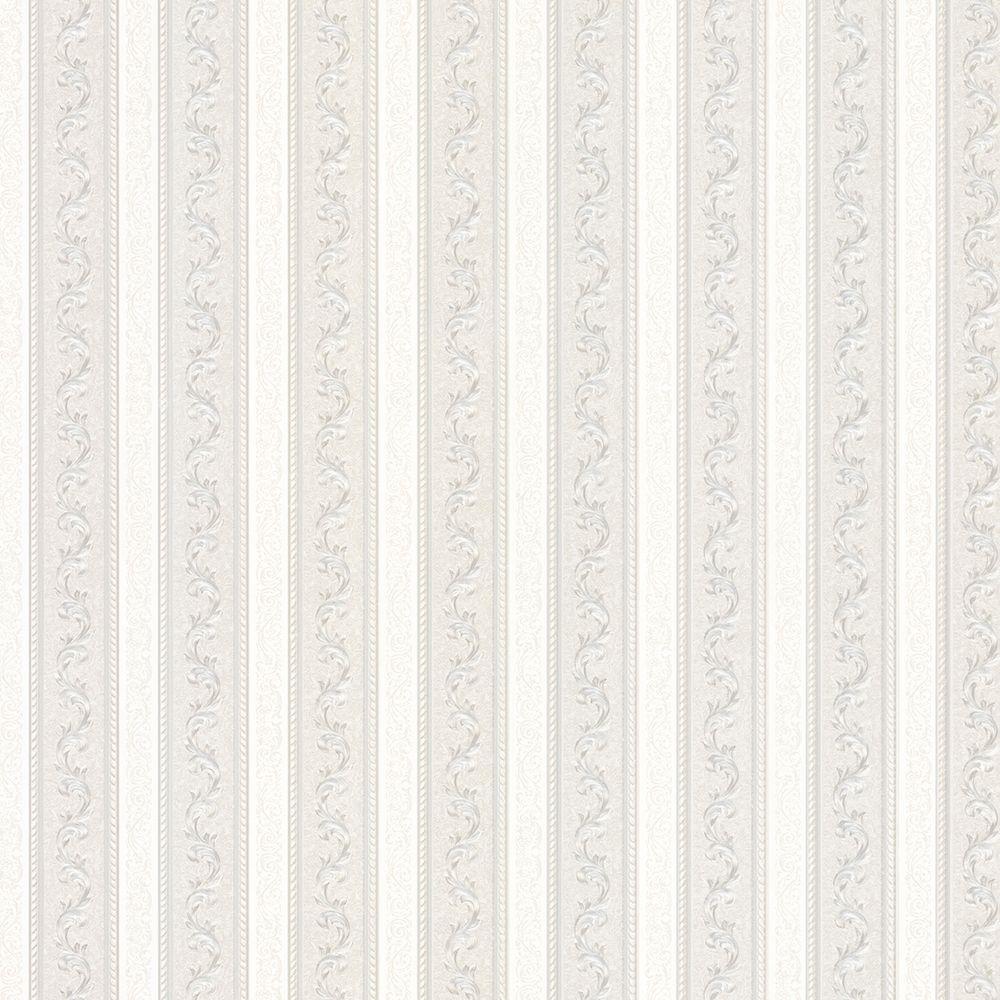 Kendra Platinum Scrolling Stripe Wallpaper Sample