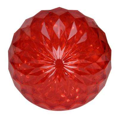 "6"" Red LED Hanging Crystal Sphere Ball Outdoor Christmas Decoration"