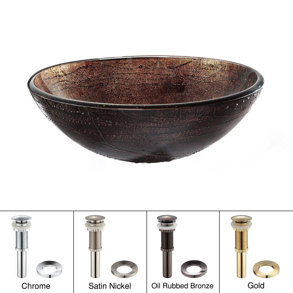 Copper Illusion Glass Vessel Sink in Brown with Pop-Up Drain and