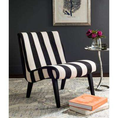 Black and White Polyester Accent Chair