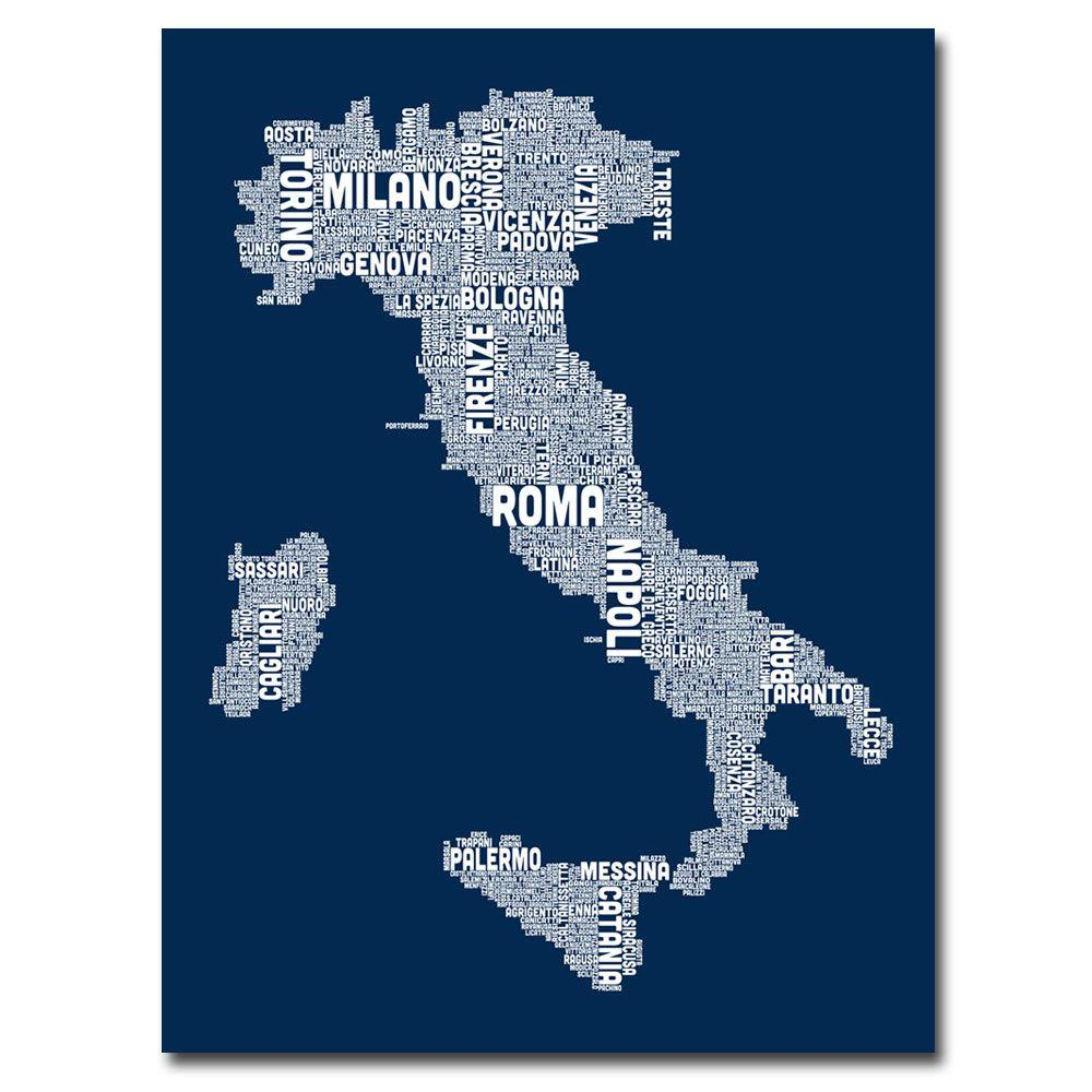 Trademark Fine Art 24 In X 18 In Italy City Map Ii Canvas Art