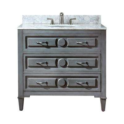 Kelly 37 in. W x 22 in. D x 35 in. H Vanity in Grayish Blue with Marble Vanity Top in Carrera White and White Basin