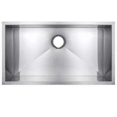 Handmade Undermount Stainless Steel 30 in. x 18 in. x 9 in. Single Bowl Kitchen Sink in Brushed Finish