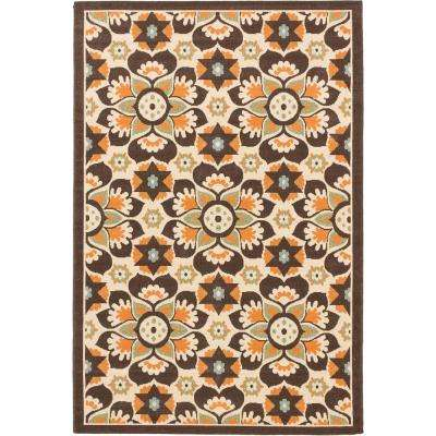 Tropicana Cream, Dark Brown 5 ft. x 7 ft. Area Rug