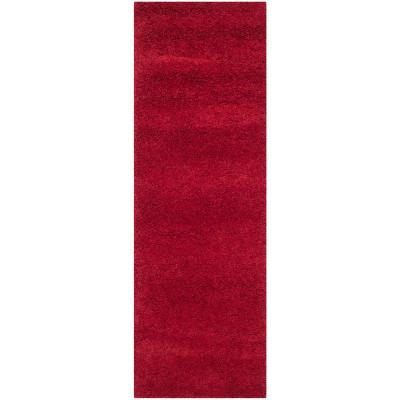 Milan Shag Red 2 ft. x 8 ft. Runner Rug
