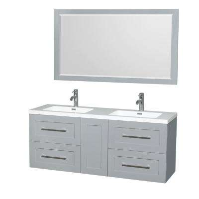 Olivia 60 in. W x 19 in. D Vanity in Dove Gray with Acrylic Vanity Top in White with White Basins and 58 in. Mirror