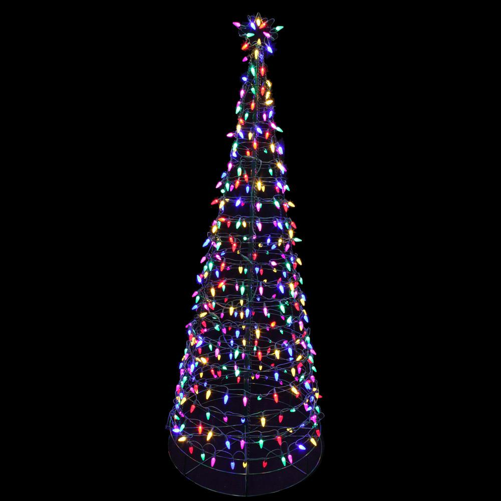 Home accents holiday 6 ft pre lit led tree sculpture with for Christmas tree lawn decoration