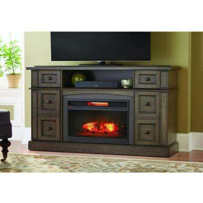 Bellevue Park 59 in. Media Console Infrared Electric Fireplace in Brown Twilight Grey Finish