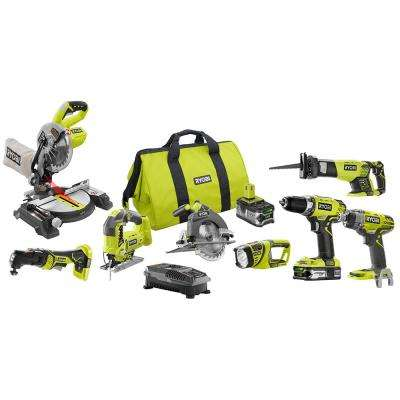 18-Volt ONE+ Lithium-Ion Cordless 8-Tool Combo Kit with (1) 4.0 Ah Battery, (1) 1.5 Ah Battery, 18-Volt Charger, and Bag