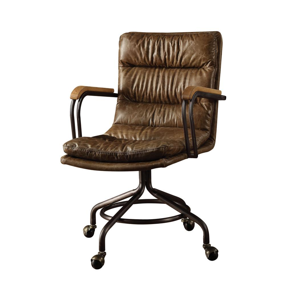 Office chair vintage Leather Acme Furniture Hedia Vintage Whiskey Top Grain Leather Office Chair Home Depot Acme Furniture Hedia Vintage Whiskey Top Grain Leather Office Chair
